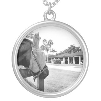 horse staring at barn bw round pendant necklace