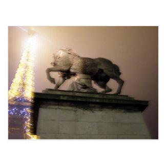 horse statue n eiffle tower postcard