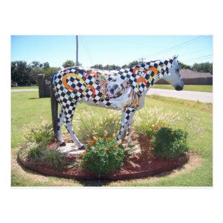 Horse statue postcard