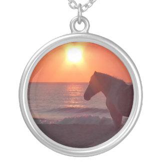 Horse Sunrise Round Pendant