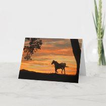 Horse Sunset and Oak Tree Note Card
