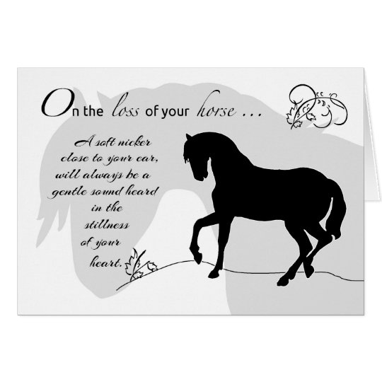 horse sympathy black silhouette card. Black Bedroom Furniture Sets. Home Design Ideas