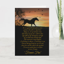 Horse Sympathy Card, Loss of Horse Spiritual Poem Card