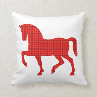 Horse Tartan Pattern Throw Pillow