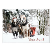 Horse Team Sleigh Ride Through Snowy Woods Card