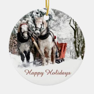 Horse Team Sleigh Ride Through Snowy Woods Ceramic Ornament