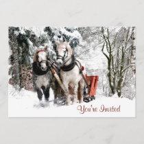 Horse Team Sleigh Ride Through Snowy Woods Invitation