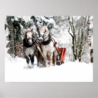 Horse Team Sleigh Ride Through Snowy Woods Poster