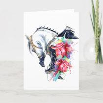 Horse thank you card, blank horse birthday card