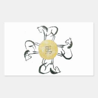 Horse- the Four Direction, Sumi-e Rectangular Sticker