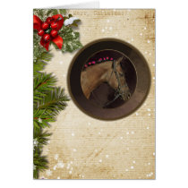 Horse Theme Christmas Card & Envelope; Customize!