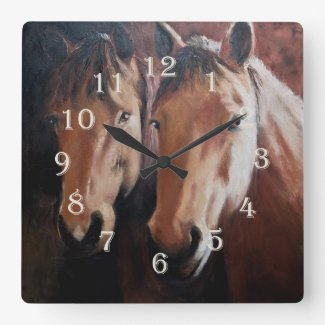 Horse Clock with Two Horses