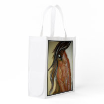 Horse themed reusable shopping bag. grocery bag