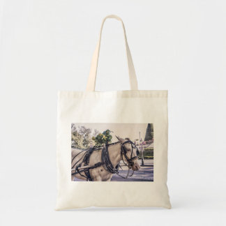 Horse Themed, Wagon White Horse Look Pensively In Tote Bag