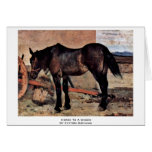 Horse To A Wagon By Fattori Giovanni Greeting Card