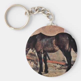Horse To A Wagon By Fattori Giovanni Key Chain