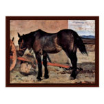 Horse To A Wagon By Fattori Giovanni Postcard