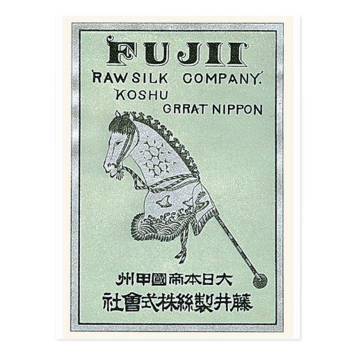 Horse Toy  Vintage Japanese Silk Label Postcard
