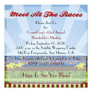 Business meeting invitations announcements zazzle horse track race event corporate party invitation stopboris Choice Image