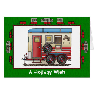 Horse Trailer Camper Holiday Wish Greeting Card