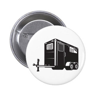 horse trailer viewed from low angle retro style pinback buttons
