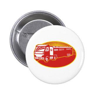 Horse Transport Truck Trailer Retro Pinback Buttons