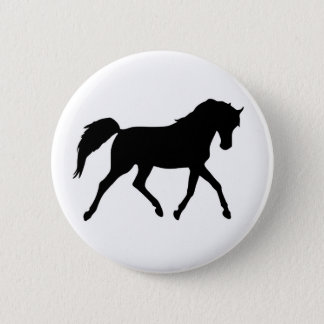 Horse trotting black silhouette button, pin, gift pinback button