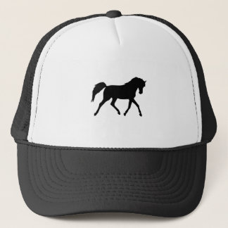 Horse trotting black silhouette hat, gift idea trucker hat