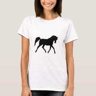 Horse trotting black silhouette ladies t-shirt, T-Shirt