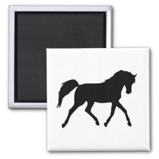 Horse trotting black silhouette magnet, gift idea 2 inch square magnet