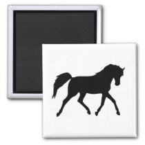 Horse trotting black silhouette magnet, gift idea magnet