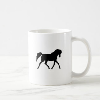 Horse trotting black silhouette mug, gift idea coffee mug