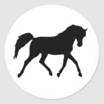 Horse trotting black silhouette stickers, gift classic round sticker