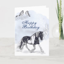 Horse Trotting in the Snow Winter Birthday Card
