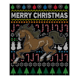 Horse Ugly Christmas Sweater Wildlife Series Poster