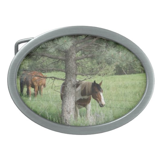 Horse under tree belt buckle