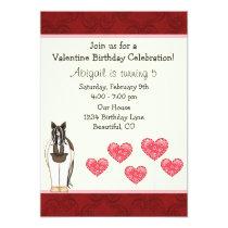 Horse Valentine Birthday Invitation for Girls