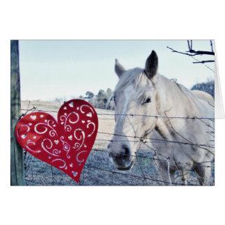 HORSE Valentine heart Card