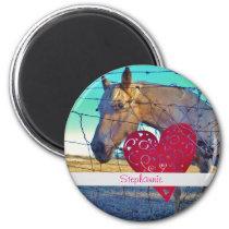 horse Valentine Heart red Magnet