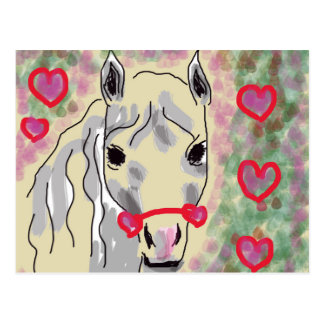 Horse valentines postcard