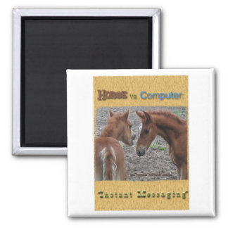 Horse vs. Computer: Instant Messaging 2 Inch Square Magnet