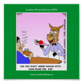 Horse Waiters Funny Cartoom Posters