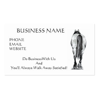 HORSE WALKING AWAY: LEAVE SATISFIED: BUSINESS CARD