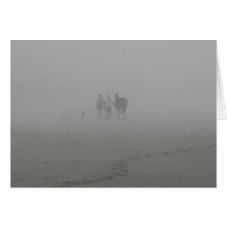 Horse Walking on the Beach in the fog Card
