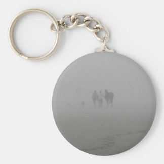 Horse Walking on the Beach in the fog Keychain