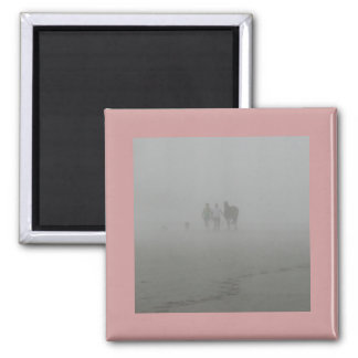 Horse Walking on the Beach in the fog Magnet