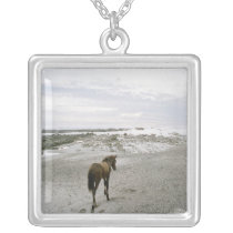 Horse walking on the beach silver plated necklace