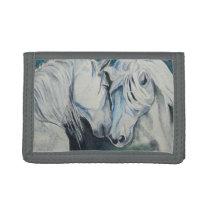 Horse Wallet- Watercolor Style, Blue Tri-fold Wallet