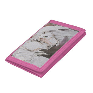 Horse Wallet- Watercolor Style, Peach/Pink Tri-fold Wallet