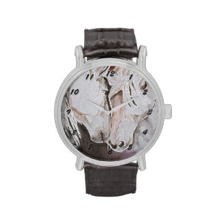 Horse Watch, Peach/Pink with Black Numbers